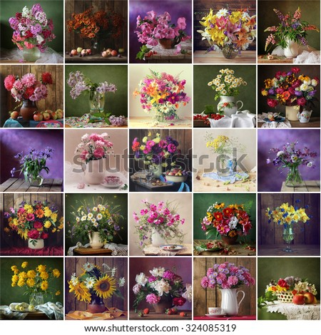 Collage from still lifes with bouquets. Flowers. Flower background. - stock photo