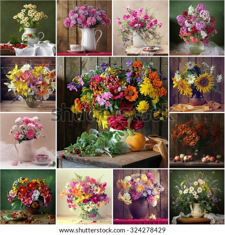 Collage from still lifes with bouquets. Still life with a bouquet of cultivated flowers, pumpkin and cowberry. Flowers. Flower background. - stock photo