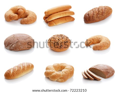 Collage from the various bread isolated on white