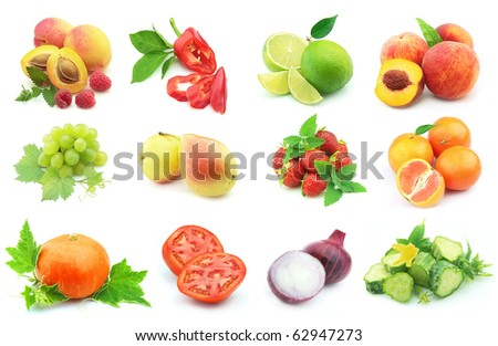 Collage from vegetables and fruit - stock photo