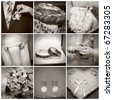 Collage from wedding photos. Nine in one. Sepia - stock photo