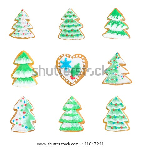 collage gingerbreads christmas tree with snow isolated on white - stock photo