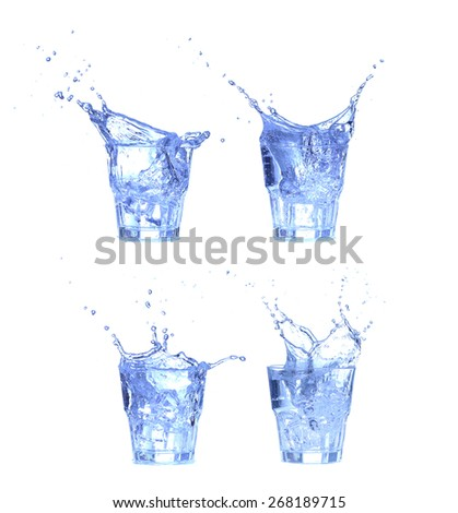 collage Glass of water, ice and slice of fresh lemon on a white background - stock photo