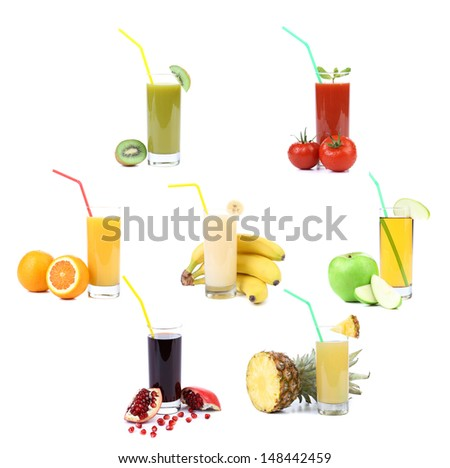 Collage. Glasses of juice. Different fruit - stock photo