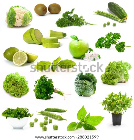 collage green vegetables and fruits on white background - stock photo