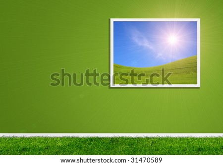 Collage - green wall, open window with scenery and grass on the floor. - stock photo
