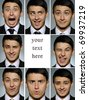 Collage group picture of many business man facial expressions. blank space for text - stock photo