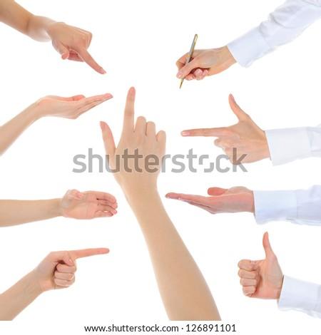 Collage hand symbol isolated on white background - stock photo