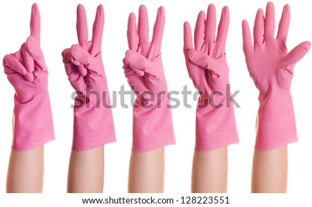 collage hands in pink rubber gloves show the number one, two, three, four, five