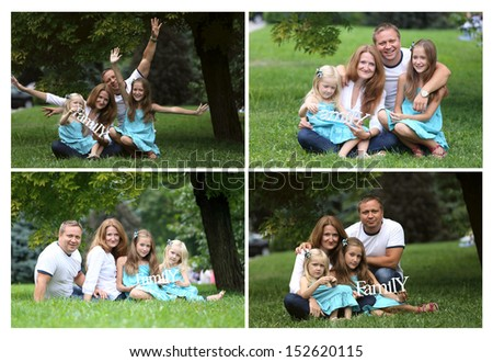 collage - happy  family  in the park  - stock photo