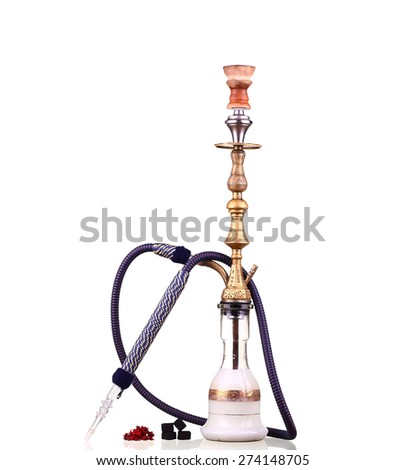 collage Hookah isolated on a white background. Water pipe, hookah tobacco, coal, charcoal - stock photo