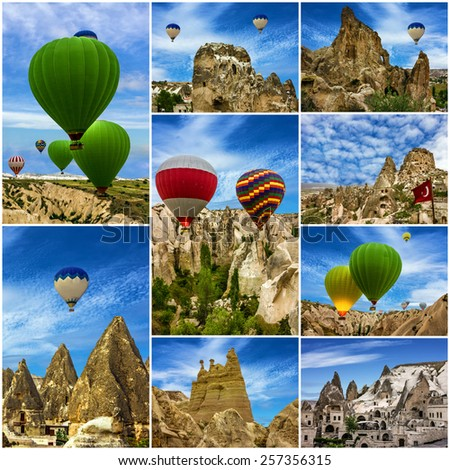 Collage -  hot air balloons and landscapes, Cappadocia, Goreme, Turkey - stock photo