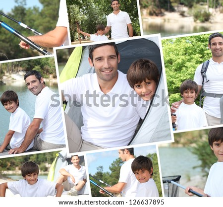 Collage illustrating a family camping holiday - stock photo