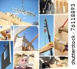 Collage illustrating the building of a house - stock photo