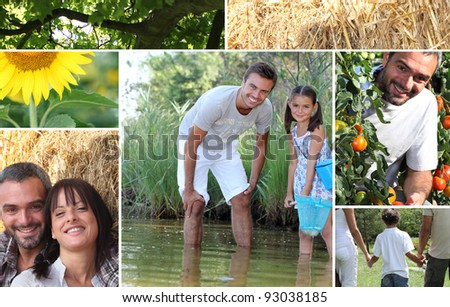 Collage illustrating the great outdoors - stock photo