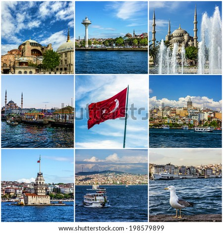 Collage Istanbul landmarks, Turkey - stock photo