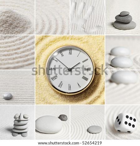 Collage - Japanese garden of stones. Watch. - stock photo