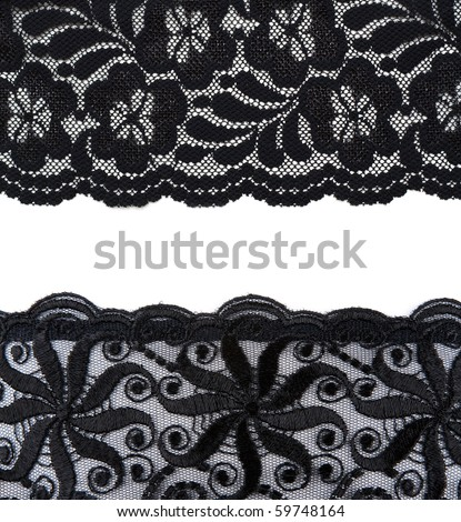 Collage lace with pattern on white background. Picture is stuck from several photographies - stock photo