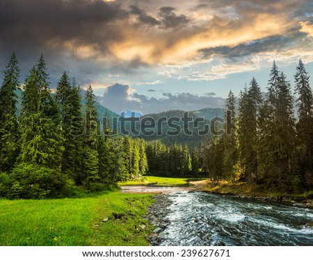 collage landscape with pine trees in mountains and a river in front flowing to lake - stock photo