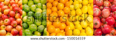 Collage. Lots of different fruits - stock photo