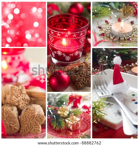 Collage made from Christmas photos, christmas decoration