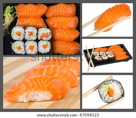 Collage made from sushi photos - stock photo