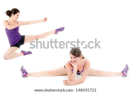 Collage made of girl practicing healthy lifestyle - stock photo