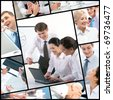 Collage made of images of business colleagues - stock