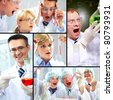 Collage made of images with chemical concept - stock photo