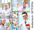 Collage made of images with scientific concept - stock photo