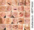 Collage, made of many different smiles. You can find here 25 pictures. - stock photo