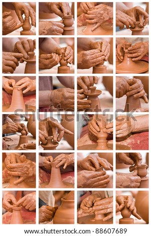 Collage made of photos about potter hands working with clay.