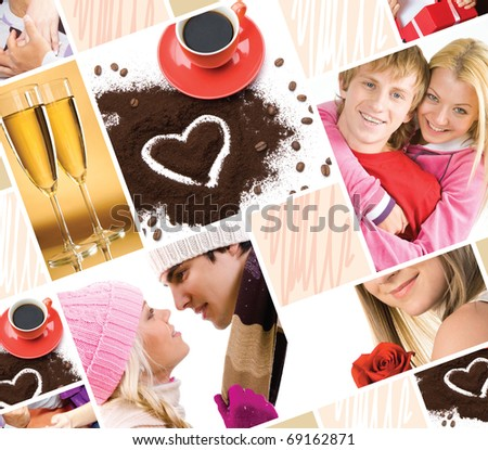 Collage made of valentines images and symbols of love - stock photo
