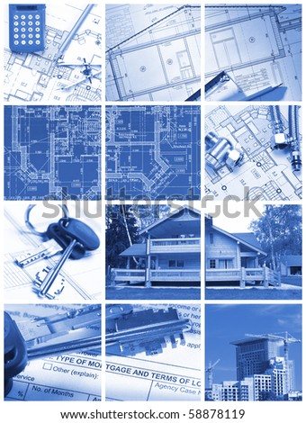 Collage made with architecture and construction related images - stock photo
