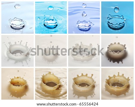 Collage made with beautiful ripple shots - stock photo