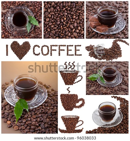 Collage made with coffee beans, cups and coffee details - stock photo