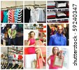 Collage made with shopping related images. No brandnames or copyright objects. - stock photo