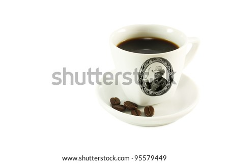 Collage made with  the portrait of a man in a hat with a cup of coffee