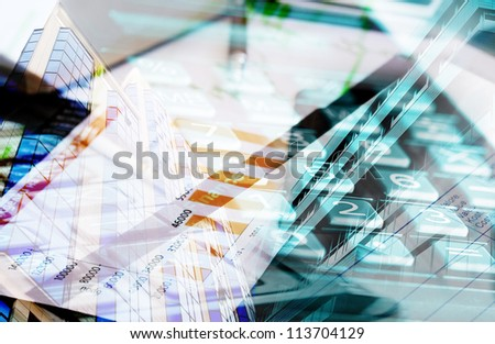 collage marketing and data conceptual - stock photo