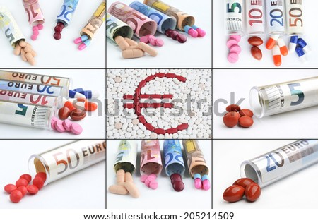Collage medical pills and tablets in euro bank notes money as a symbol of health costs - stock photo
