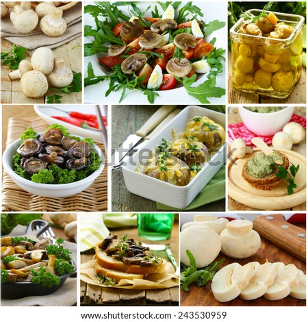 collage menu different dishes from mushrooms champignons - stock photo