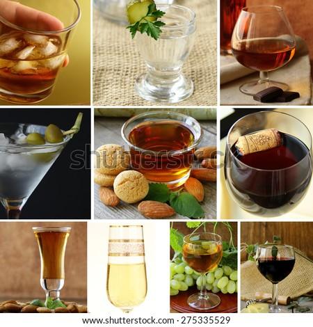 collage menu different types of alcohol (wine, martini, whiskey, vodka, amaretto, brandy) - stock photo