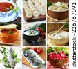 collage menu of Russian and Ukrainian food (dumplings, borsch, okroshka, herring) - stock photo