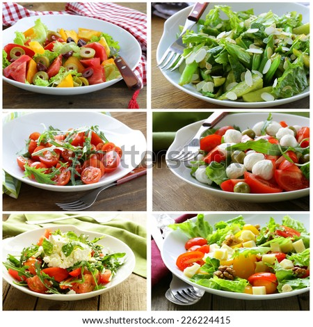 collage menu salads with vegetables, cheese and olives