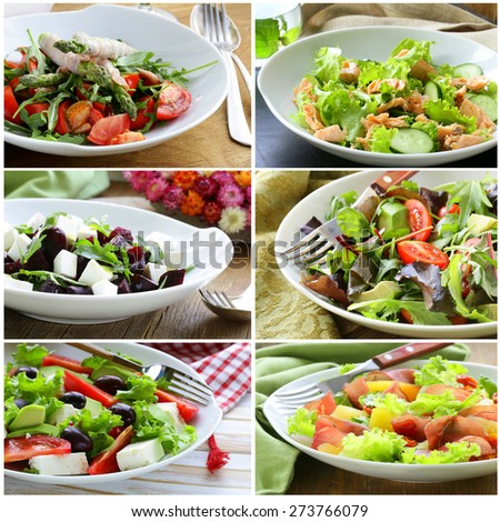 collage menu salads with vegetables, cheese, asparagus, ham and red fish