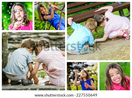 collage mosaic of young children playing outdoors - stock photo