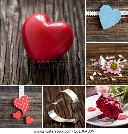 collage mothers day with heart shapes  - stock photo