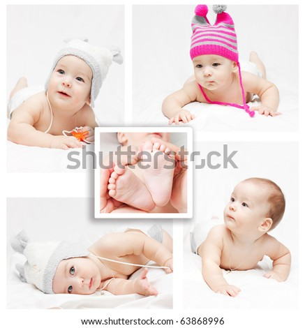 Collage. Newborn baby