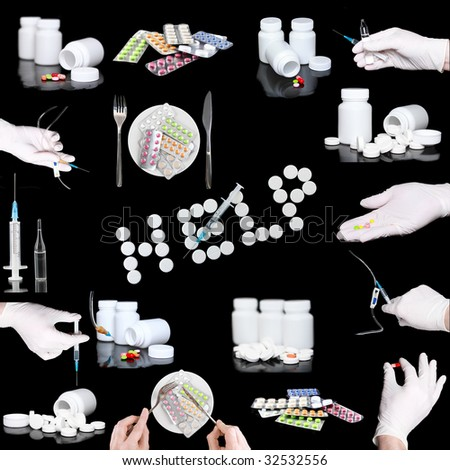 Collage od medicine- pills bottle,infusion set,syringes.Isolated on black. - stock photo