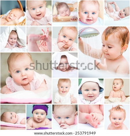 collage of a beautiful baby in a towel in bed and in the bathroom - stock photo